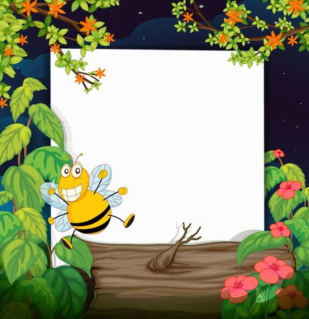 wild life: Illustration of a bee and a white board in a beautiful nature Illustration