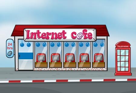cafe internet: Ilustración del café Interent y cabina telefónica Vectores
