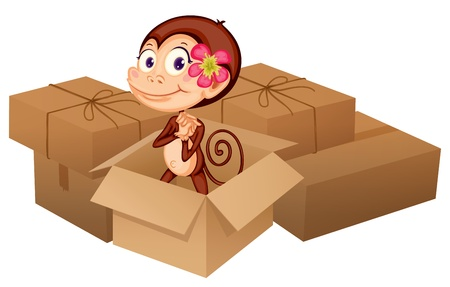 Illustration of a monkey and boxes on a white background Stock Vector - 17024734
