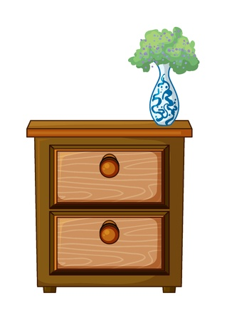 drawers: illustration of a table and a flower pot on a white background