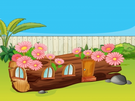 garden fence: Illustration of a wood house in a beautiful nature