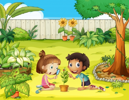 Illustration of kids and a magnifier in the garden Vector