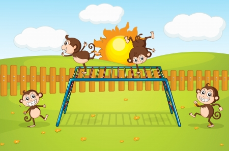 Illustration of monkeys playing on monkey-bar Stock Vector - 17024686