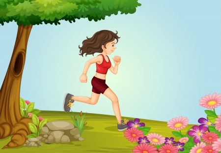 Illustration of a girl running in a beautiful nature Stock Vector - 17024776