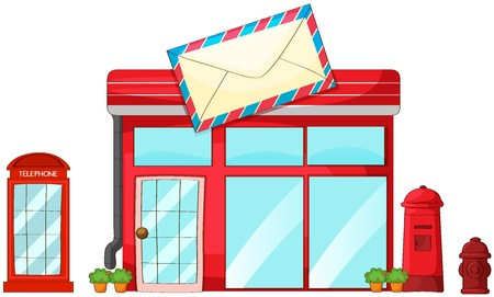 postal office: Illustration of a post office, mailbox, telephone on a white background