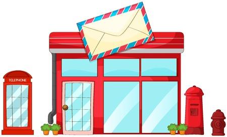 post stamp: Illustrazione di un ufficio postale, cassetta postale, telefono su uno sfondo bianco Vettoriali
