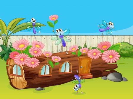 house fly: Illustration of dragonflies and a wood house in a beautiful nature Illustration