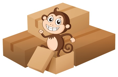 Illustration of a monkey and boxes on a white background Stock Vector - 17024683