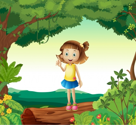 cartoon forest: Illustration of a girl under tree in nature