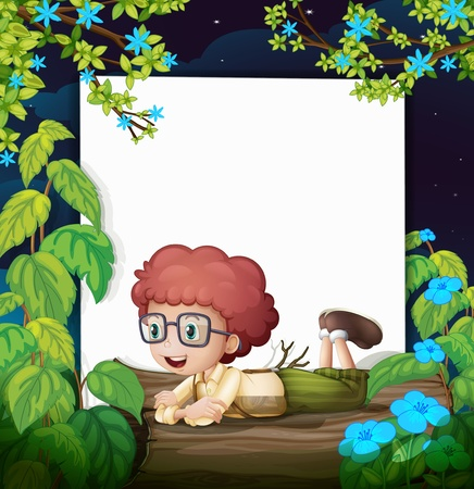 flora fauna: Illustration of a boy and a white board in a beautiful nature