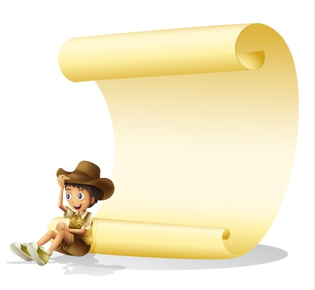 Illustration of a boy and a paper sheet on a white background Vector