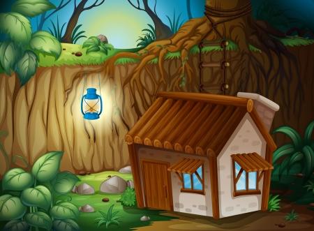 Illustration eines Bauernhauses in dunkler Nacht Vektorgrafik
