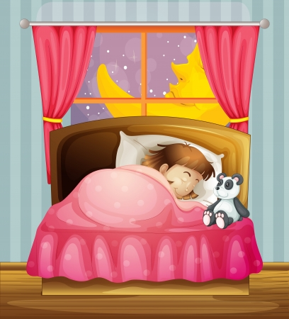 child bedroom: Ilustraci�n de una ni�a durmiendo en una habitaci�n