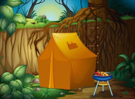 illustration of a camping tent in a beautiful nature Vector
