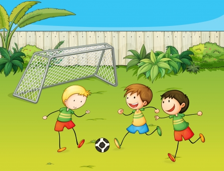 Illustration of kids playing football on football ground Vector