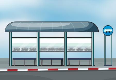 parada de autobus: Ilustración de una parada de autobús en una carretera