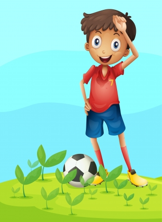 Illustration of a boy playing football in a beautiful nature Vector