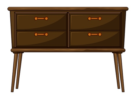 pieces of furniture: illustration of a table with drawers on a white background