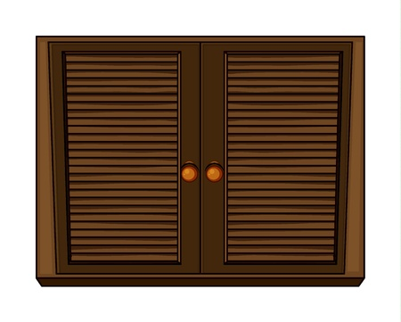 piece of furniture: Illustration of a wardrobe on a white background Illustration