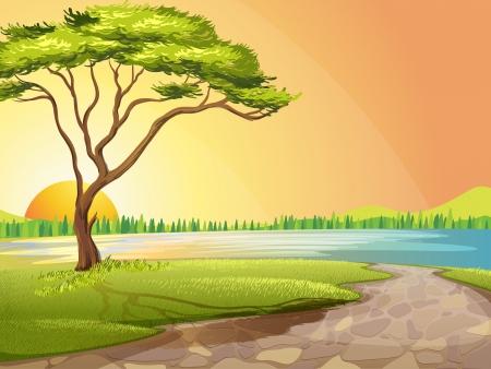 arboles de caricatura: Ilustraci�n de un r�o y un �rbol en una hermosa naturaleza