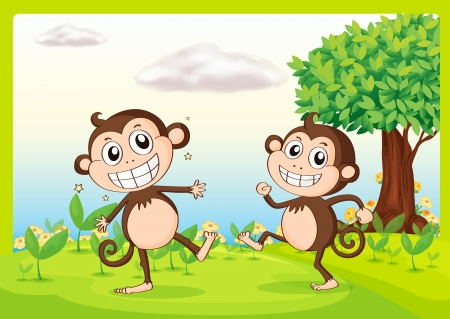 Illustration of two monkeys in green nature Stock Vector - 17031246