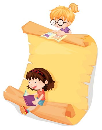 reading glasses: Illustration of girls and a paper sheet on a white background