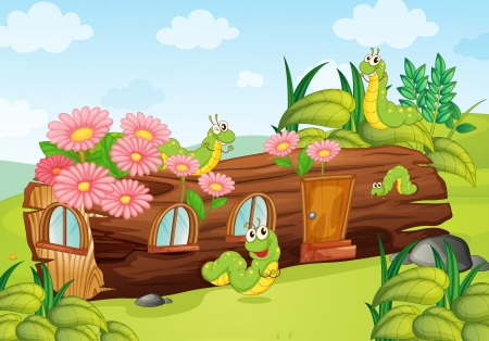 cartoon larva: Illustration of a caterpillar and a wood house in a beautiful nature