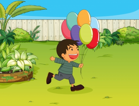 Illustration of a smiling boy with balloons in a garden Vector