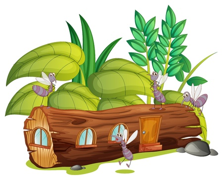 Illustration of mosquitoes and a wooden house on a white background Vector