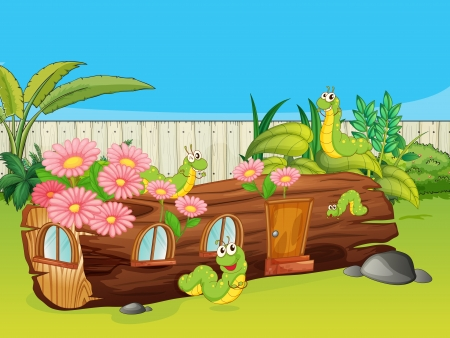 Illustration of caterpillars and a wood house in a beautiful nature Vector
