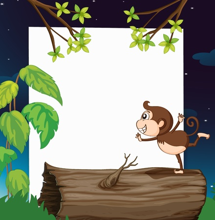 teeths: Illustration of a monkey and white board in green nature