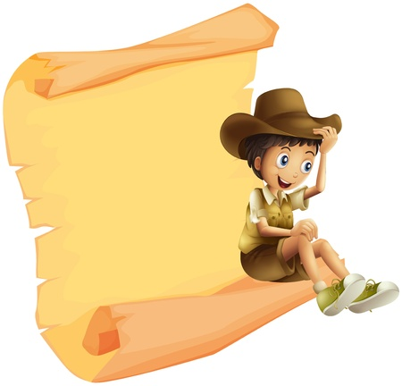 safari: Illustration of a boy and a paper sheet on a white background