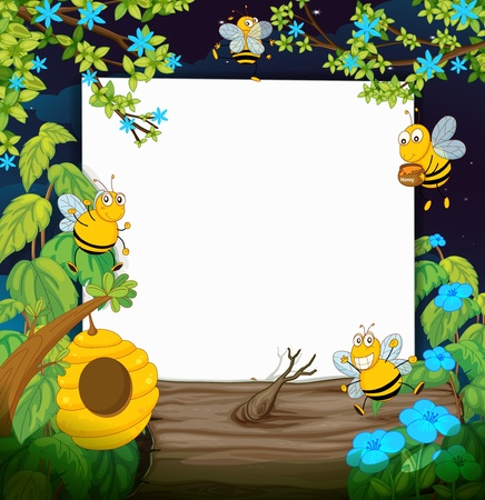 Illustration of bees and a white board in a beautiful nature Vector