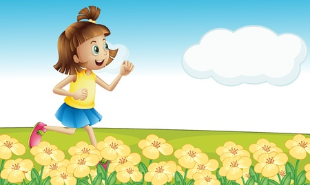 Illustration of a girl running in a park Vector