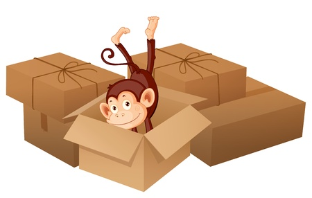 Illustration of a smiling monkey and boxes on a white background Stock Vector - 17031106