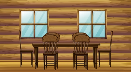 Illustration of a table and chairs in a room Stock Vector - 17031250