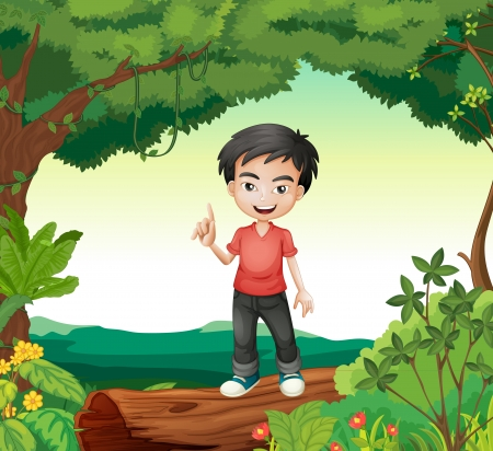 Illustration of a boy standing in a beautiful nature Illustration