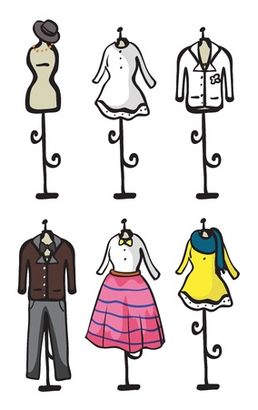 male mannequin: Illustration of a display of various garment on a white background