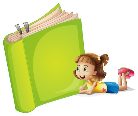 Illustration of a girl and a book on a white background Vector
