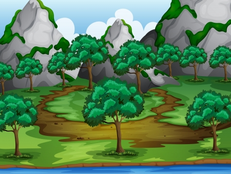 river bank: Illustration of trees and moutains in a beautiful nature Illustration