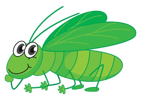 Illustration of a smiling grasshopper on a white background