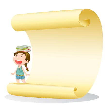 Illustration of a smiling girl and a paper sheet on a white background Vector