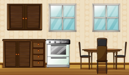 Illustration of wooden furniture and windows in a house Vector