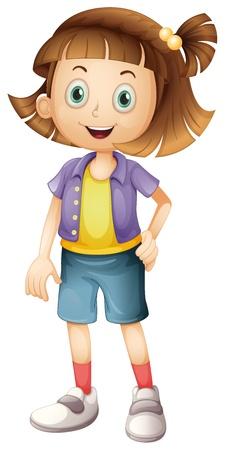 Ilustración de una niña con el pelo marrón sobre un fondo blanco