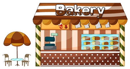 shop show window: illustration of a bakery shop on a white background