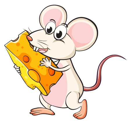 Illistration of a mouse eating cheese on a white background Stock Vector - 17031037