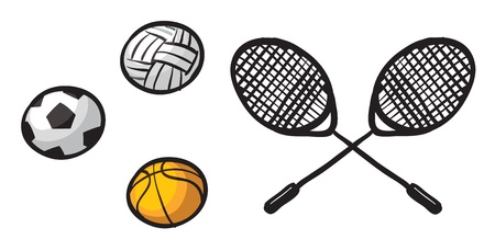Illustration of various balls and rackets on a white background Vector