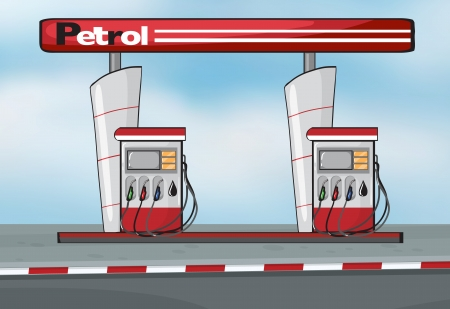 petrol pump: Illustration of petrol station on blue background