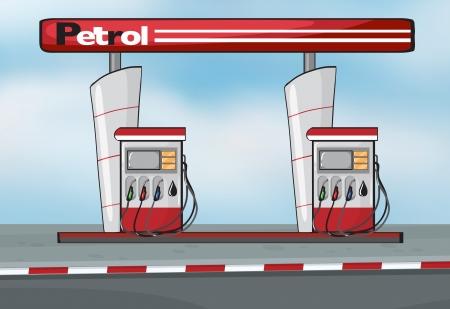 Ilustración de la estación de gasolina en el fondo azul Ilustración de vector