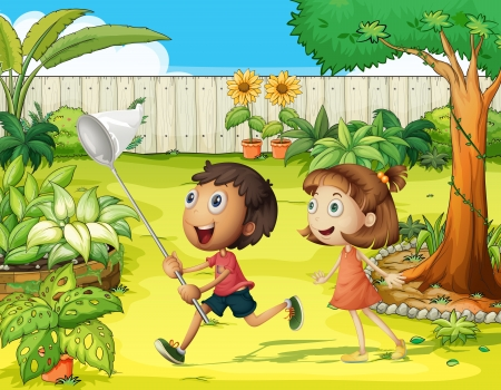 Illustration of kids in a beautiful nature Stock Vector - 17031366